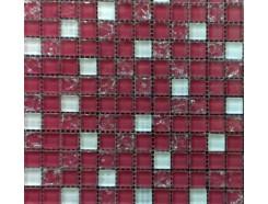 Мозаика микс розово-белая-розово-колотый