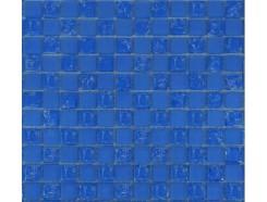 Мозаика шахматка голубой матовый-голубой колотый