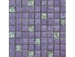 Мозаика микс фиолетовый рельефный-рельефна платина