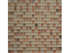 Мозаика микс бежевый-бронза рельеф-камень