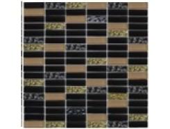 Мозаика микс черный-черный рифл.-беж., 300 x 300