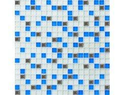 Мозаика микс белый-голубой-платина