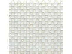 Мозаика шахматка белый матовый-белый колотый