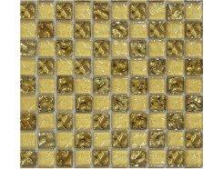 Мозаика шахматка рельефное золото-золотой песок