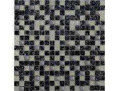 Мозаика (микс) черный колотый - белый  колотый - платина